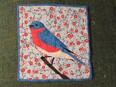 Bluebird of happiness quilted wall hanging