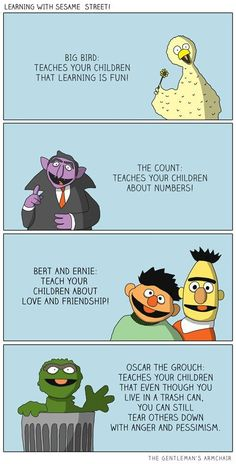 Funny pictures about Learning with Sesame Street. Oh, and cool pics about Learning with Sesame Street. Also, Learning with Sesame Street. Funny Pranks, Funny Memes, Jokes, Funny Captions, Funniest Memes, Elmo Memes, Sesame Street Memes, Bert & Ernie, Oscar The Grouch