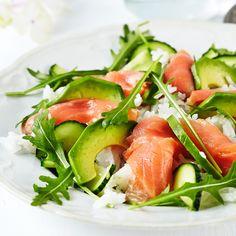 Sushisalaatissa maistuvat sushista tutut japanilaiset maut: riisiviinietikalla maustettu riisi, inkivääri, lohi, soija ja wasabi.
