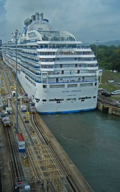 Island Princess passing through Panama Canal lock.