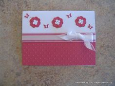 Pink handmade card for any occasion using Stampin' Up Floral Fusion Sizzlits & Rhinestones