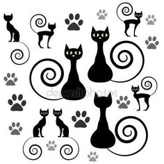 Egy sor fekete macska sziluettek — Stock Illusztráció #12059946