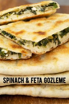 Gozleme is popular a Turkish flatbread with fillings. This is an easy recipe to make it at home from scratch with spinach and feta cheese filling. Recipes cheese Spinach and Feta Gozleme - El Mundo Eats Turkish Recipes, Greek Recipes, Fish Recipes, Albanian Recipes, Vegetarian Recipes, Cooking Recipes, Healthy Recipes, Gozleme Recipe, Feta Cheese Recipes