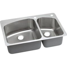 Elkay DPXSR2250R2L Dayton Premium Stainless Steel Double Bowl Dual-Mount Sink with 2R 2L Faucet Holes, Premium Highlighted Satin, Multicolor
