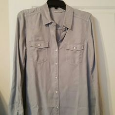 Long sleeved  blouse Light gray blouse. Never worn Halogen Tops Button Down Shirts