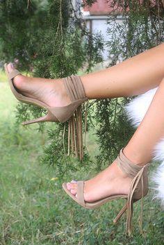 The Renegade Beige Strappy Ankle Fringe Heel