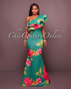 Chic Couture Online - Amalia Green Bold Floral One Shoulder Maxi Dress,  (http://www.chiccoutureonline.com/amalia-green-bold-floral-one-shoulder-maxi-dress/)