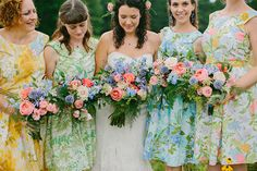 vintage bridesmaids | New Hampshire farm wedding | Photo by Emily Delamater Photography | Read more - http://www.100layercake.com/blog/?p=70297