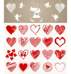 Valentines day hearts vector on VectorStock®