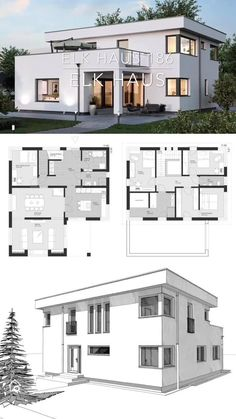 Modern House Floor Plans, Modern Bungalow House, Sims House Plans, House Layout Plans, Floor Plans 2 Story, Free House Plans, Small House Floor Plans, Family House Plans, House Layouts