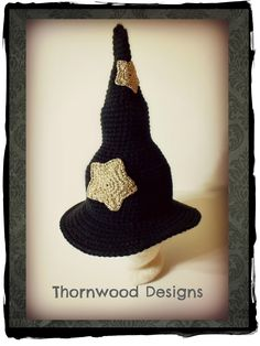 Infant, Baby-Toddler, Child, and Adult Witch Hat Crochet Pattern PDF