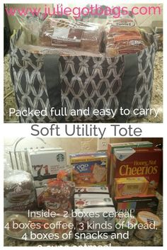 My favorite new Thirty One product! The Soft Utility Tote is holds a ton and folds up tiny. And look at and all it holds! Love! www.juliegotbags.com