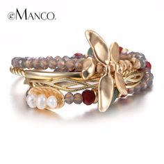 eManco Vintage Multilayers Dragonfly Bracelets & Bangles for Women Crystal Semi-precious Stones & Pearls Bracelets Jewelry  #me #men #sale #newarrivals #bags #gloves #kids #accessories #mensfashion #groom #fashion #bride #baby #wallets #style