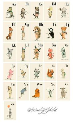 Childrens Wall Art Print Alphabet A3 Poster Animals by holli