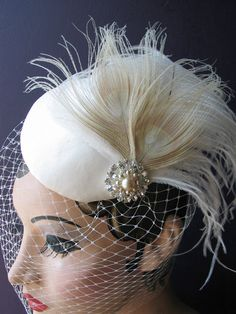 Weddings, Ivory Birdcage Veil, Bridal Hat, White Peacock, Feather Fascinator, Pearl, Crystal Center