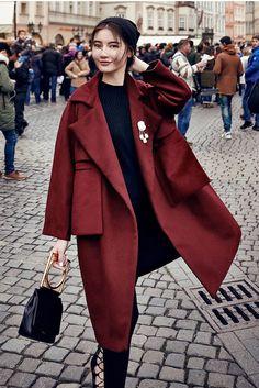 Dark Red Oversized Pocket Jacket #red #jacket #genuine-peole