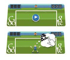 Burbujas Web - Noticias internacionales: Parando el balón de fútbol en un Doodle de Google