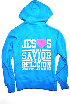 """Jesus Is My Savior Not My Religion Zip Hood inspired by John 3:17 """" For God did not send his Son into the world to condemn the world, but to save the world through him."""" It's not about following rules and regs it's about having a meaningful relationship with Jesus. $34.99"""
