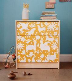 #ikea RAST chest of drawers: painted and stenciled