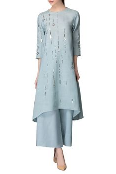 AMPM : A paste blue kurta based in linen featuring silver sequin embellishments all over. It is teamed with a pair of matching palazzo pants. It has a relaxed fit. Oriental Fashion, Ethnic Fashion, Indian Fashion, Kurti Designs Party Wear, Kurta Designs, Pakistani Dresses, Indian Dresses, Kurta Palazzo, Palazzo Pants
