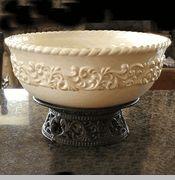 Scroll Style Ceramic Cream All Purpose Pedestal Centerpiece Bowl