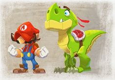 Mario and Yoshi by Javier Burgos Angry Birds, Yoshi, Super Mario Bros, Character Design References, Game Character, Luigi, Design Page, Science Fiction, Culture Pop