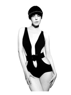 Resort 1968, black wool-knitbelow-the-navelswimsuit with patent leather belt from The Gernreich Book