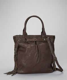 Take a look at this Dark Taupe Fringe Tote by David Jones on #zulily today!