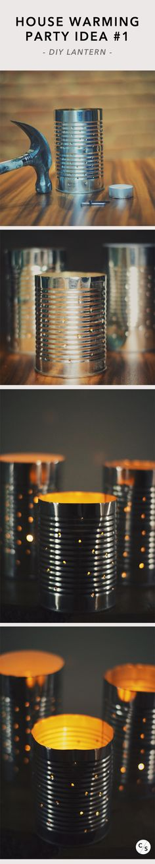 Simple DIY idea for your next house warming party : outdoor can lanterns!    - More ideas @ Le Club Social - DIY Studio