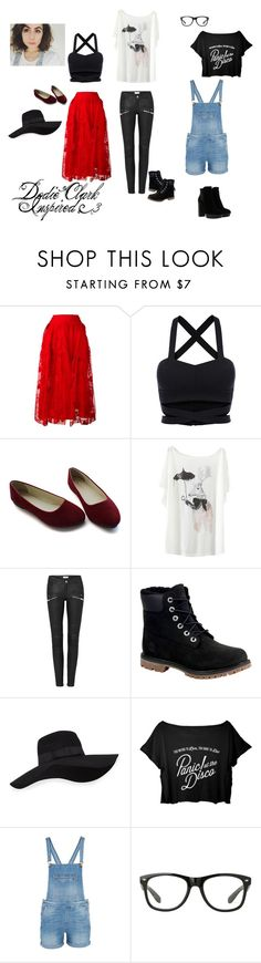 """Dodie Clark Inspired! <3"" by chandlerriggs866 ❤ liked on Polyvore featuring Simone Rocha, Timberland, San Diego Hat Co., 7 For All Mankind and Hogan"