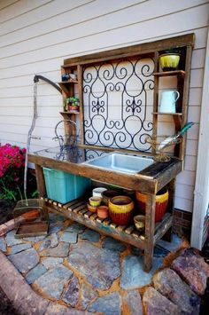 Potting Table…(NOTE the rustic old garden gate used as the table's back!) Potting Table…(NOTE the rustic old garden gate used as the table's back!
