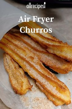 "Air Fryer Churros | ""Who doesn't love churros? They're a delicious cinnamon-sugar treat, and making them in an air fryer takes them from a guilty treat into a sweet treat."" #allrecipes #airfryer #airfryerrecipes #howtouseanairfryer #dinnerideas"
