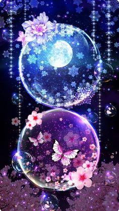 Cute Galaxy Wallpaper, Night Sky Wallpaper, Anime Scenery Wallpaper, Butterfly Wallpaper, Cute Anime Wallpaper, Wallpaper Iphone Cute, Fantasy Art Landscapes, Fantasy Artwork, Cute Wallpaper Backgrounds