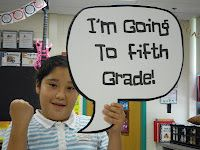 """""""I'm going to ______ grade!"""" picture (The kids also wrote """"Why I deserve to go to 5th grade"""" persuasive papers. The teacher dressed up like a judge that day with a graduation gown and gavel."""