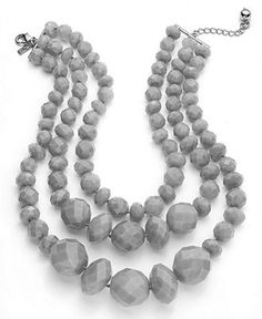 kate spade new york Necklace, Gold-Tone Grey Triple Strand Statement Necklace - Fashion Necklaces - Jewelry & Watches - Macy's