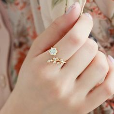 Fashion Women Alloy Twisted Leaves Crystal Wishful Flower Opening Ring Jewelry