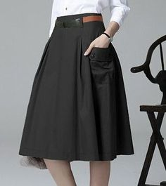 Summer Casual ALine Pockets Skirt Khaki Black Solid Midi Princess Button Women Skirts Color Black Size S Black Midi Skirt, Pleated Midi Skirt, Mid Length Skirts, Skirts With Pockets, Matching Outfits, Fashion Outfits, Clothes, Black Button, Style
