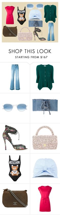 """Be Unique..**"" by mkrish ❤ liked on Polyvore featuring STELLA McCARTNEY, Twin-Set, Garrett Leight, Misbehave, Tabitha Simmons, Chanel, Moschino, Federica Moretti and Moncler"