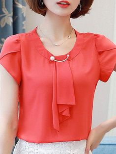 Solid Short Sleeve Beaded Tie-neck Plus Size Chiffon Blouse Casual Tops For Women, Trendy Tops, Chiffon Shoulder, Blouse Designs, Blouse Styles, Sewing Blouses, Formal Tops, Cute Dresses For Party, Casual Tie