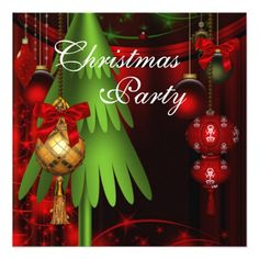 Green Tree Ornaments Red Christmas Party Invitations by decembermorning