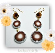 Cocoa Brown Round Dangle Earrings polymer clay by BeadazzleMe, $10.00