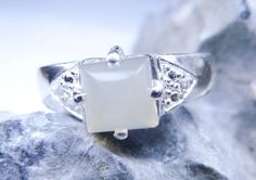 Moonstone ring sterling silver ring natural by JubileJewel on Etsy, $85.00