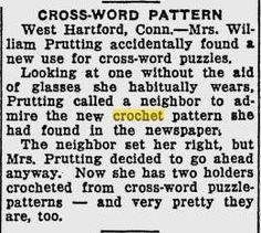 woman sees #crochet patterns in crossword puzzles (1930s crochet news!)
