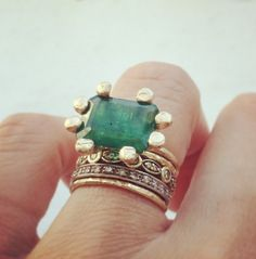 emerald XL prong #janepopejewelry #engagementring