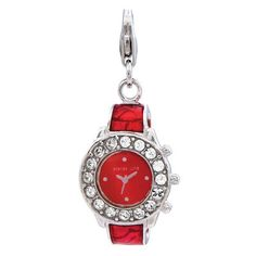 Amore La Vita™ Crystal Red and White Watch Charm in Sterling Silver
