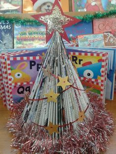 Magazine Christmas Tree For The Christmas Library Display