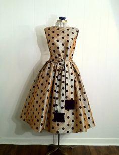 1950s reproduction polka dot swing dress