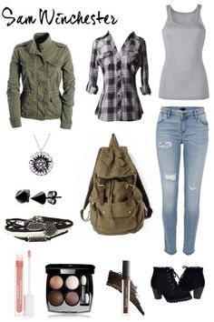 Sam Winchester outfit from Supernatural Supernatural Inspired Outfits, Supernatural Fashion, Supernatural Cosplay, Supernatural Sam, Castiel, Edgy Outfits, Teen Fashion Outfits, Fall Outfits, Casual Cosplay