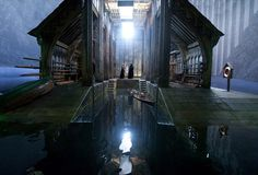 Hogwarts boathouse with Voldemort and Snape.