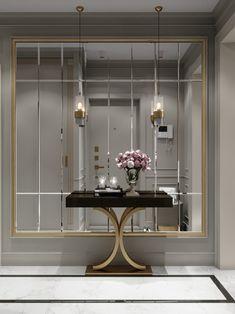 Enhance Your Senses With Luxury Home Decor Mirror Decor Living Room, Entryway Mirror, Entryway Decor, Entrance Hall Decor, Decoration Hall, Luxury Homes Interior, Luxury Home Decor, Entry Way Design, Wall Design